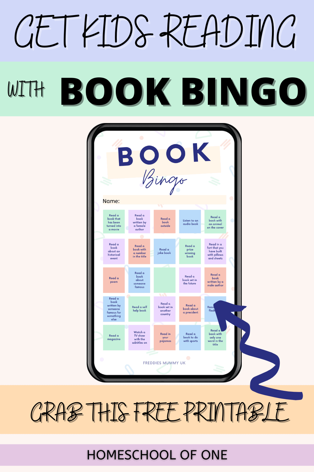 Book Bingo game perfect for getting the kids reading more!