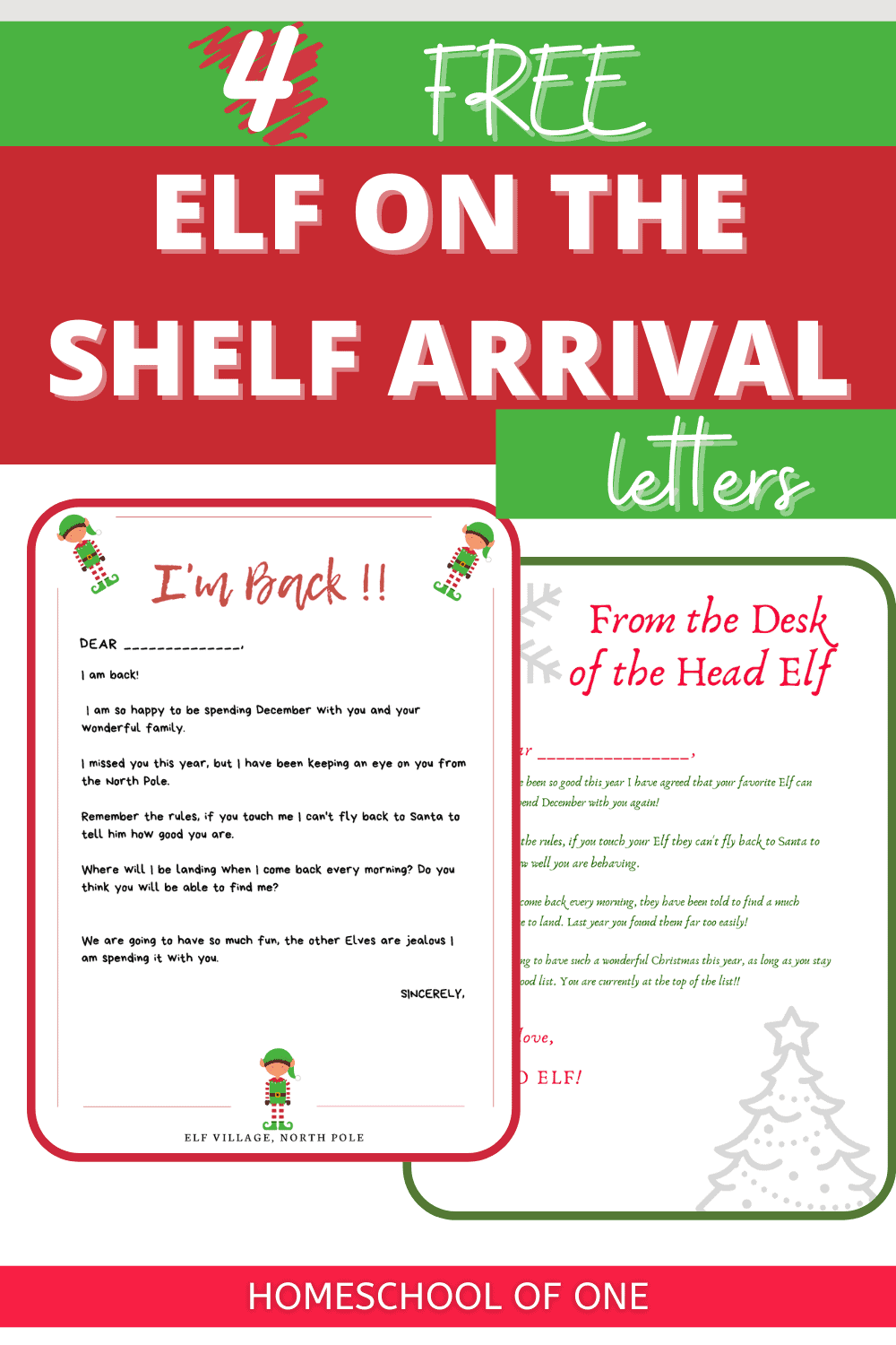 Elf Arrival Letters perfect for when your elf on the shelf first comes to visit. 4 Free printables for you to download