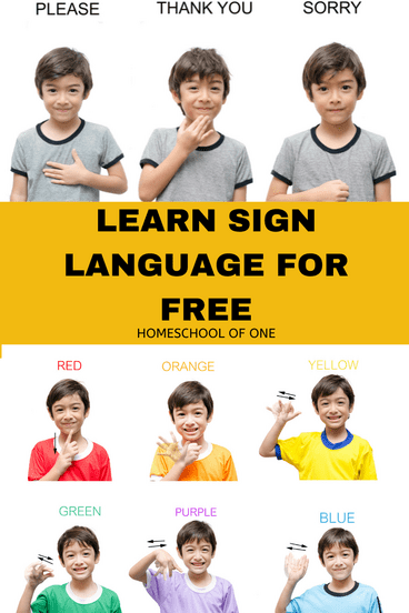 Learn Sign Language Free - perfect for homeschool families wanting to learn a second language.