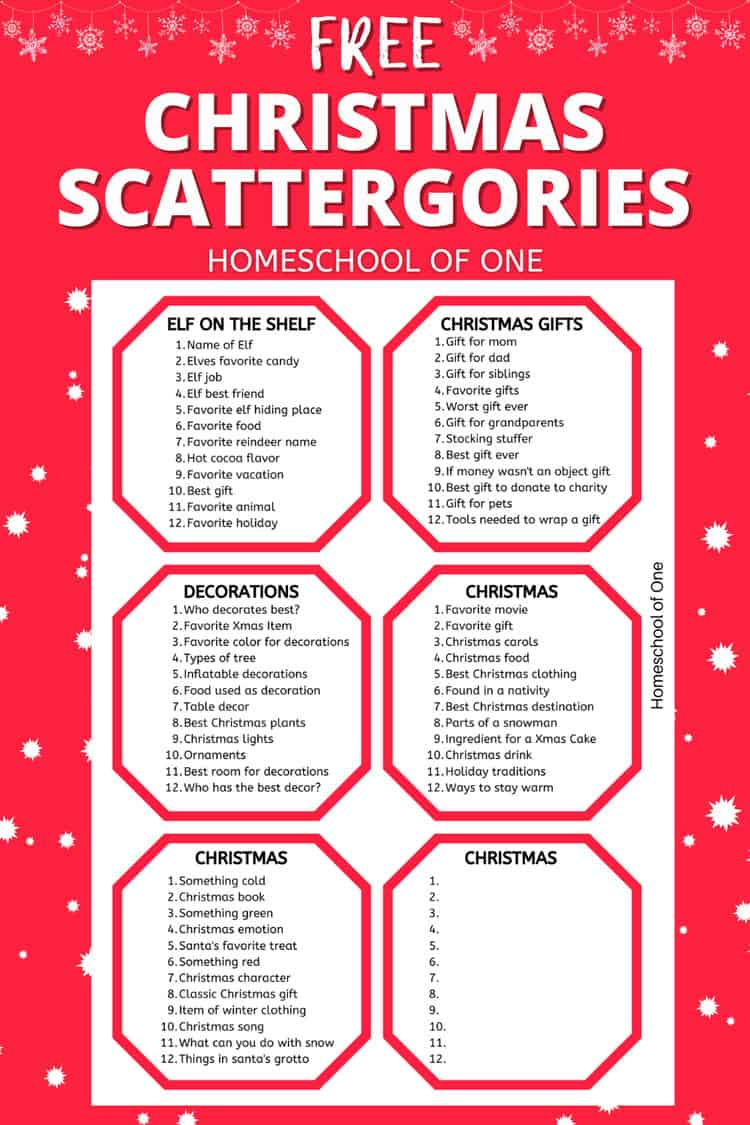 CHRISTMAS SCATTERGORIES LISTS