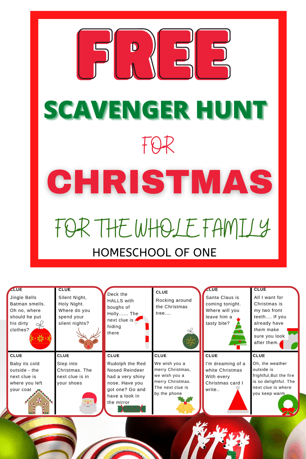 Free scavenger hunt for Christmas for the whole family. Free download