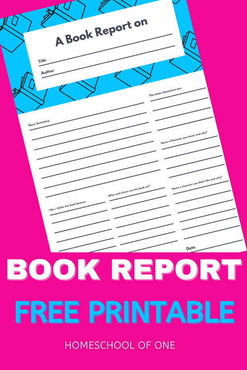 FreeBook Report Template Printable perfect for homeschoolers #kidsbooks #bookreport