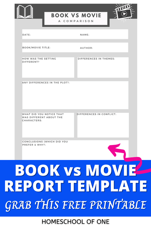 Books vs Movies Comparison Report FREE template. This printable can be used for any book and movie comparison for ages 10-16 #books #movies #printable
