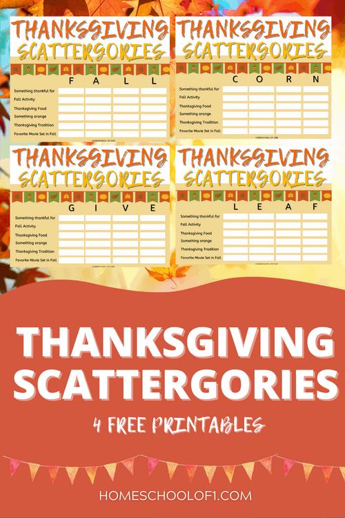 Thanksgiving Scattergories free printable #thanksgiving