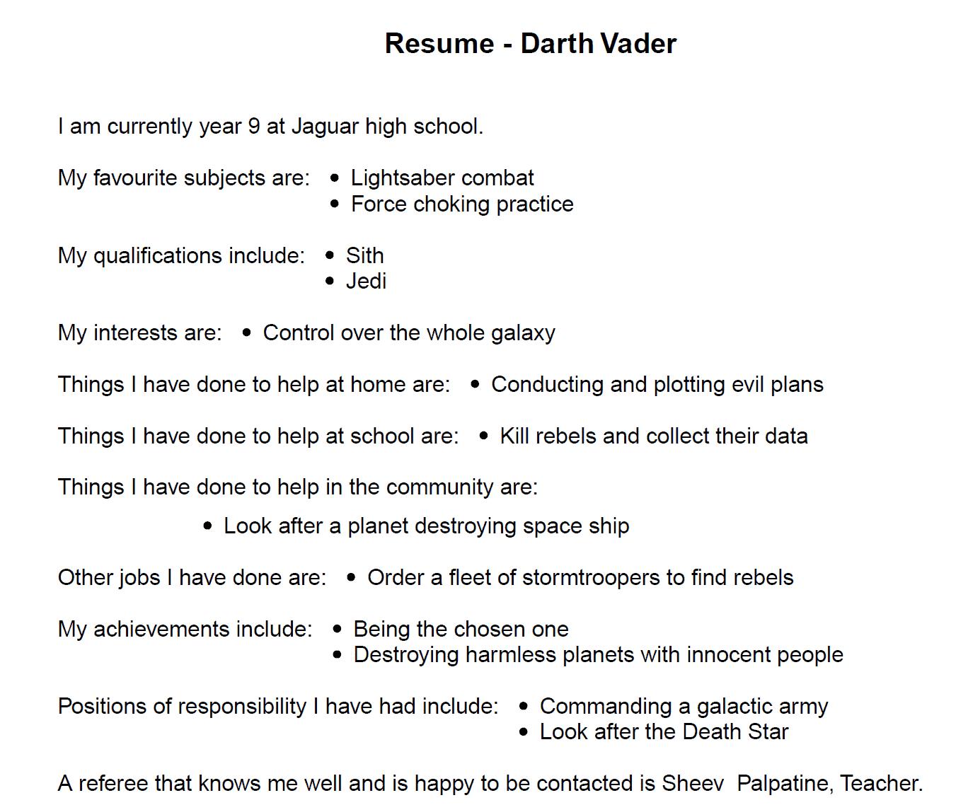 MoneyTime Resume example #darthvader #resume