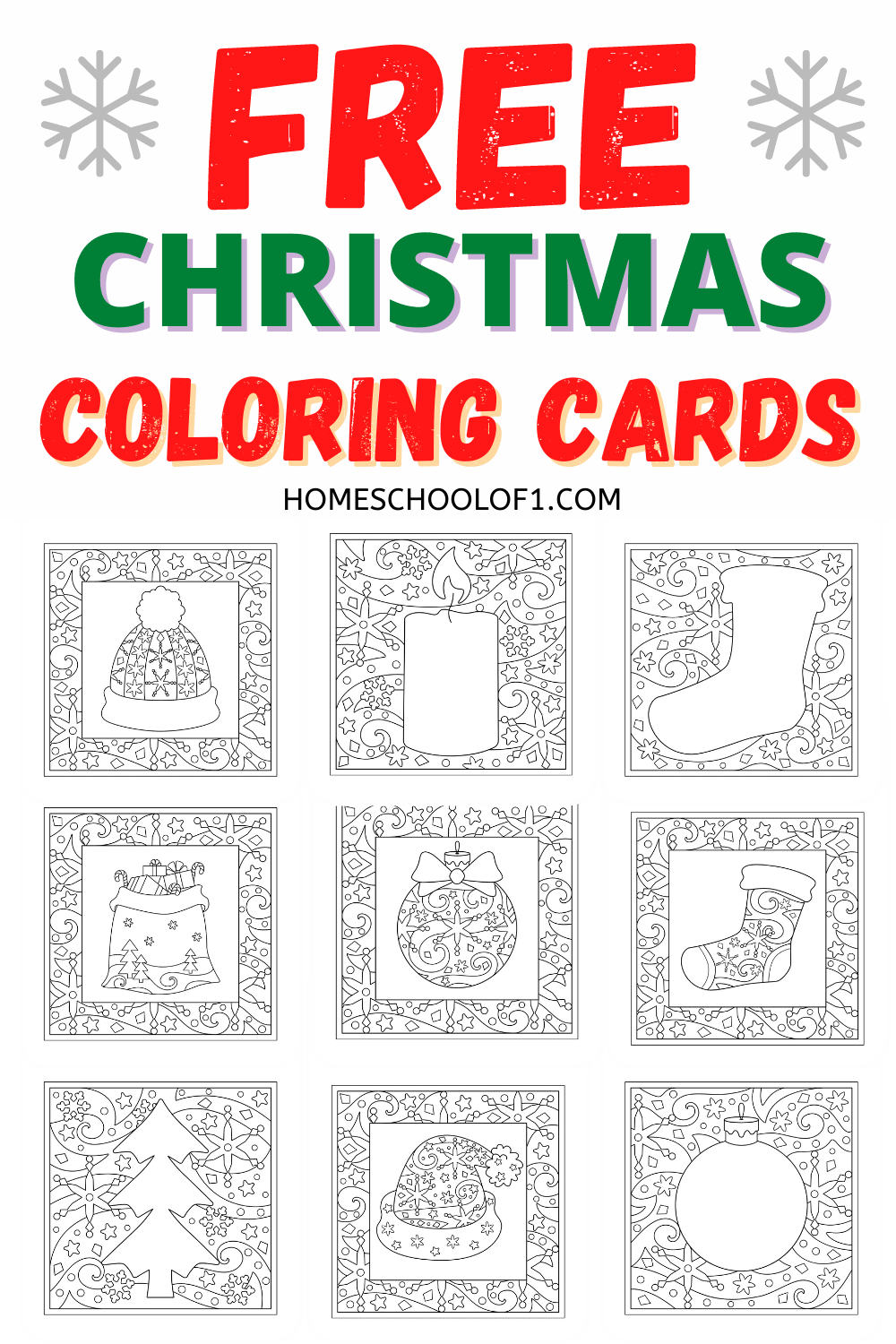 Free Christmas coloring in cards perfect for both kids and adults. Create your own homemade Christmas cards for FREE. #christmascards #christmashomemade