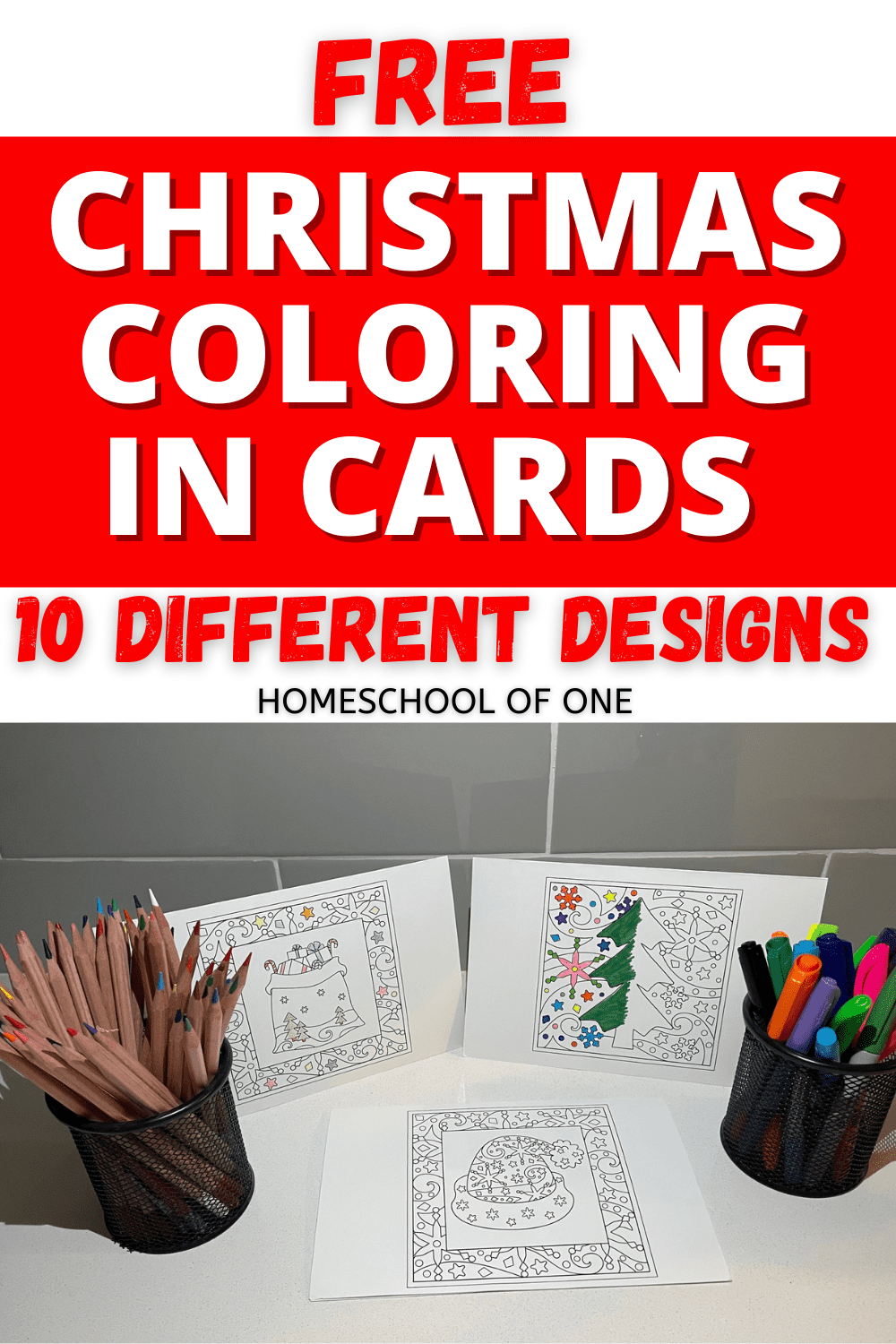 10 Free Christmas coloring in cards perfect for both kids and adults. Create your own homemade Christmas cards for FREE. #christmascards #christmashomemade