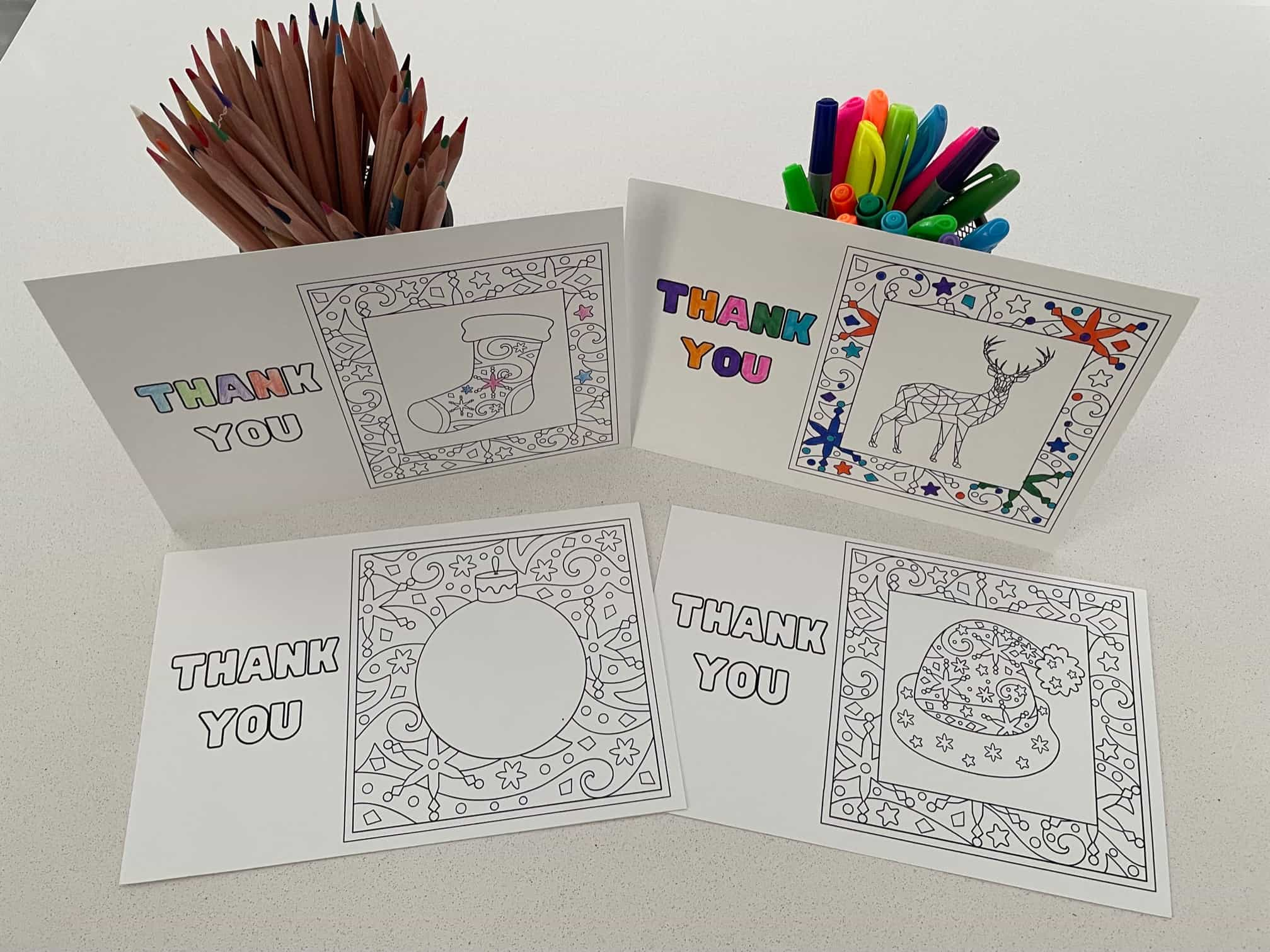 Free Printable Christmas Thank You Cards To Color In