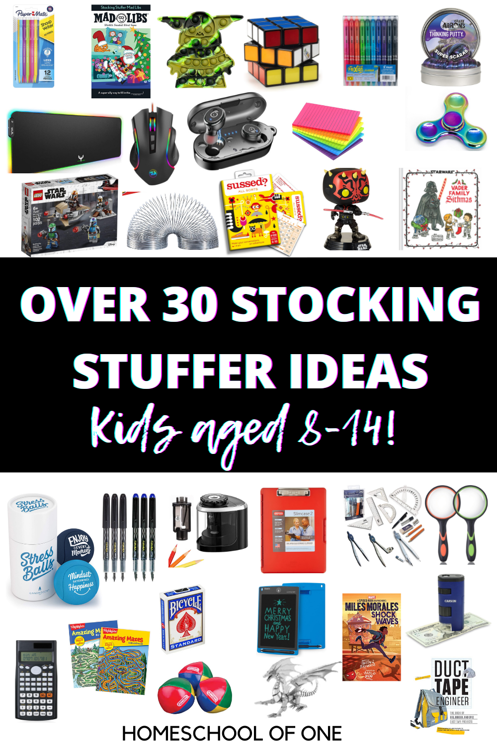 Over 30 of the BEST Kid Stocking Stuffer Ideas for ages 8-15. #stockingstuffers