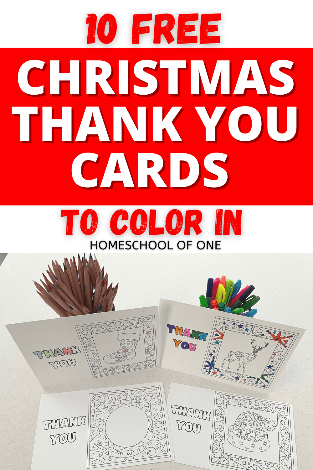 10 Free Christmas Thank You cards that you can download for free and then color in. #coloring #thankyoucards #christmas #gratitude