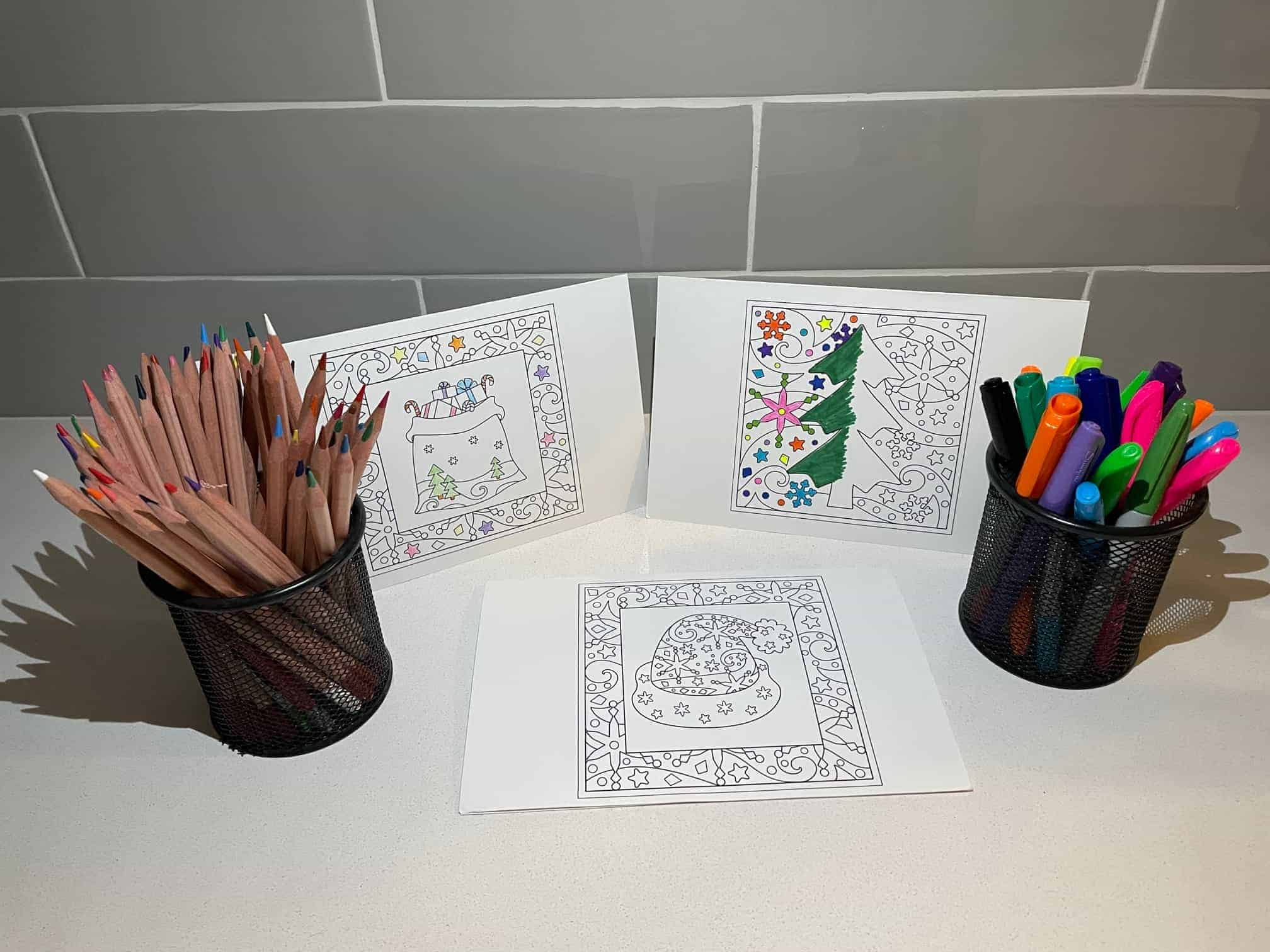 10 FREE Printable Christmas Coloring Cards For Kids & Adults