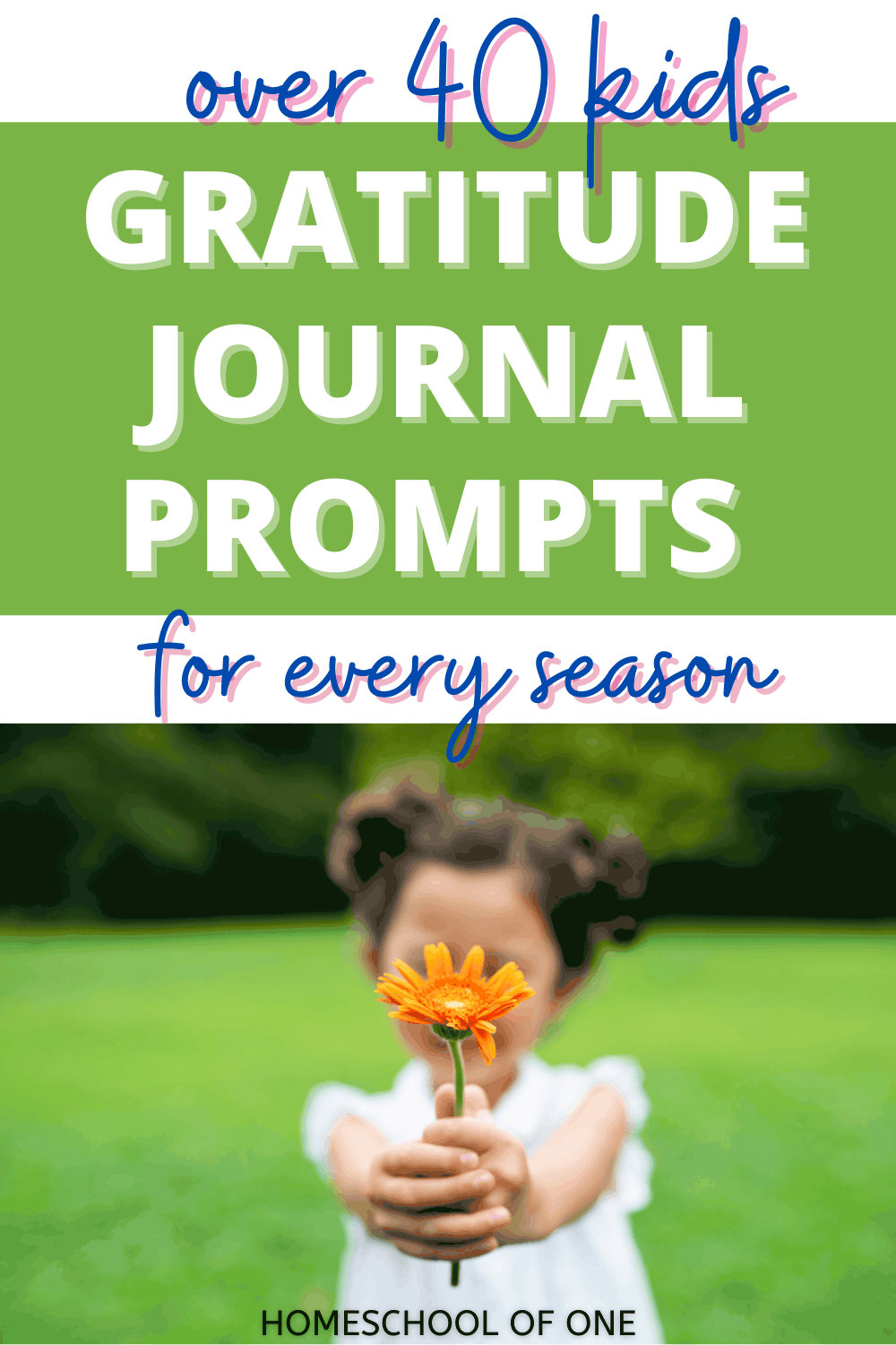Over 40 gratitude journal prompts for kids. Encourage thanks all year round with ideas for Halloween, Thanksgiving, Christmas, New Years, Valentines, Easter and Summer. #gratitude #journalprompts #writingprompts